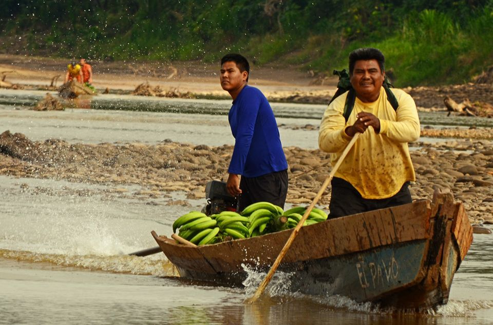 Demetrio Arce transportando sus plátanos.