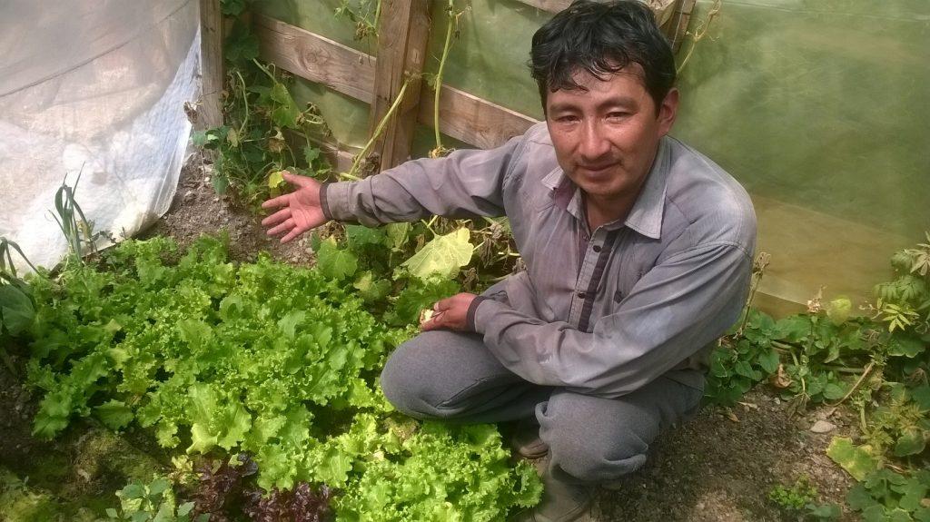 Martín Mamani muestra orgulloso el resultado de su trabajo en su huerto.